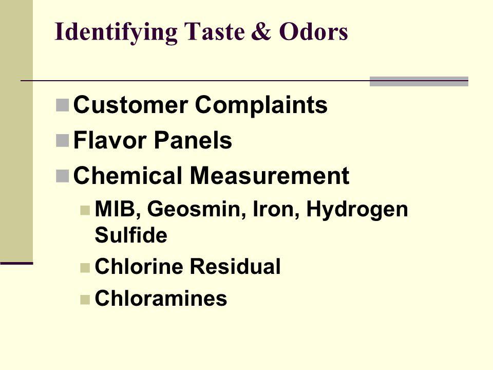 Identifying Taste & Odors Customer Complaints Flavor Panels Chemical Measurement MIB, Geosmin, Iron, Hydrogen Sulfide Chlorine Residual Chloramines