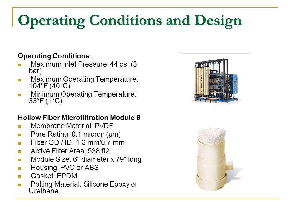 Operating Conditions and Design Operating Conditions Maximum Inlet Pressure: 44 psi (3 bar) Maximum Operating Temperature: 104°F (40°C) Minimum Operat