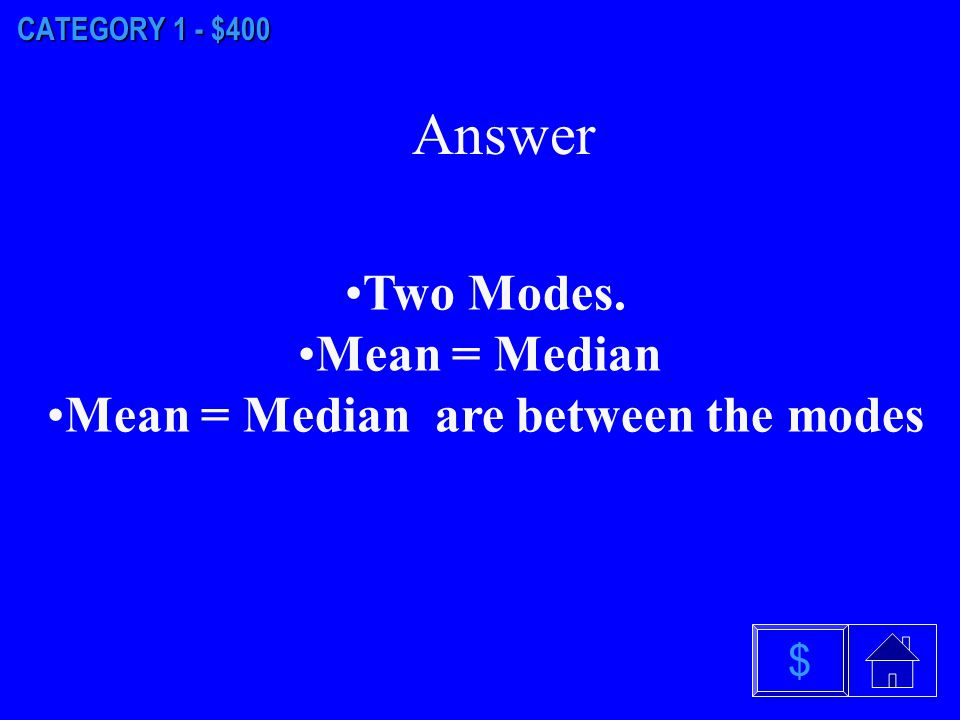 $ Answer CATEGORY 1 - $300 Unimodal. Symmetric. Mean = Median = Mode