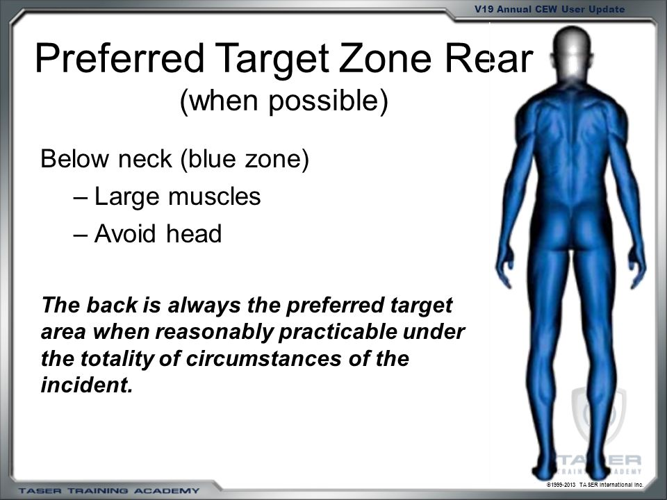 ©1999-2013 TASER International Inc. V19 Annual CEW User Update Preferred Target Zone Rear (when possible) Below neck (blue zone) –Large muscles –Avoid
