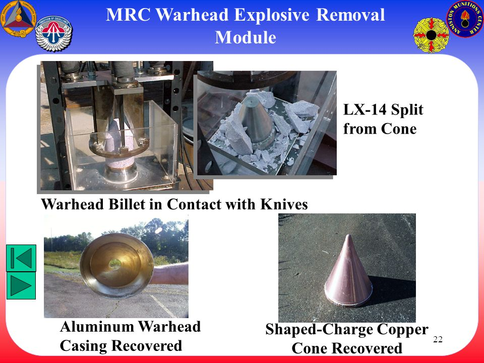 22 Warhead Billet in Contact with Knives LX-14 Split from Cone Aluminum Warhead Casing Recovered Shaped-Charge Copper Cone Recovered MRC Warhead Explo