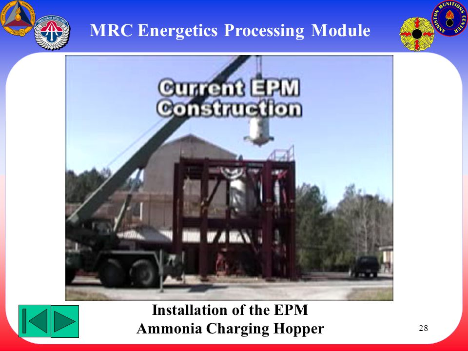 28 MRC Energetics Processing Module Installation of the EPM Ammonia Charging Hopper