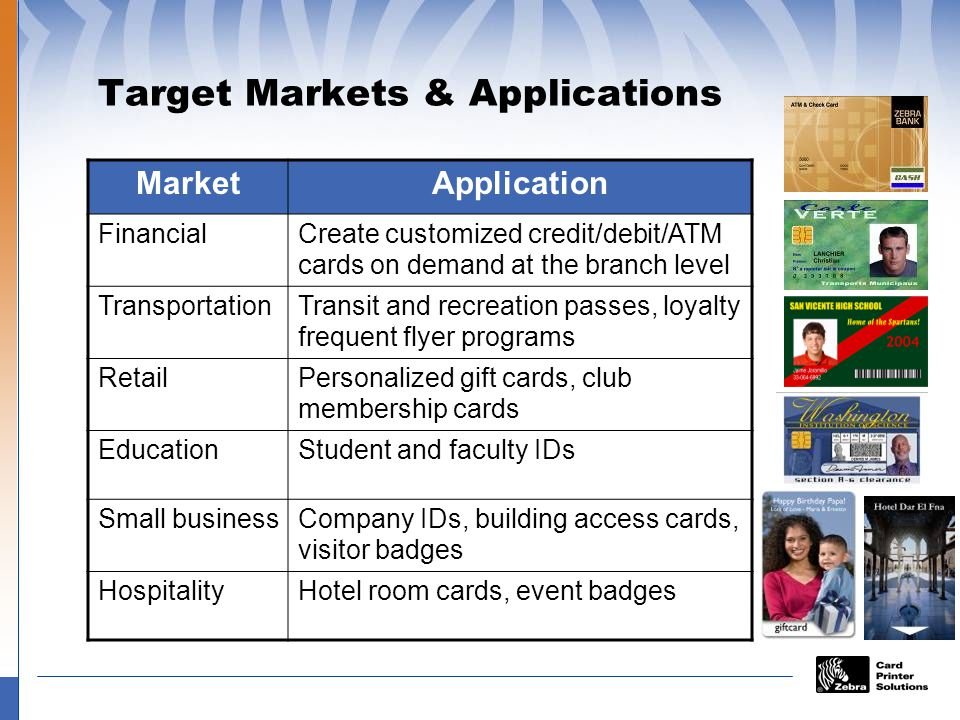 Target Markets & Applications MarketApplication FinancialCreate customized credit/debit/ATM cards on demand at the branch level TransportationTransit and recreation passes, loyalty frequent flyer programs RetailPersonalized gift cards, club membership cards EducationStudent and faculty IDs Small businessCompany IDs, building access cards, visitor badges HospitalityHotel room cards, event badges