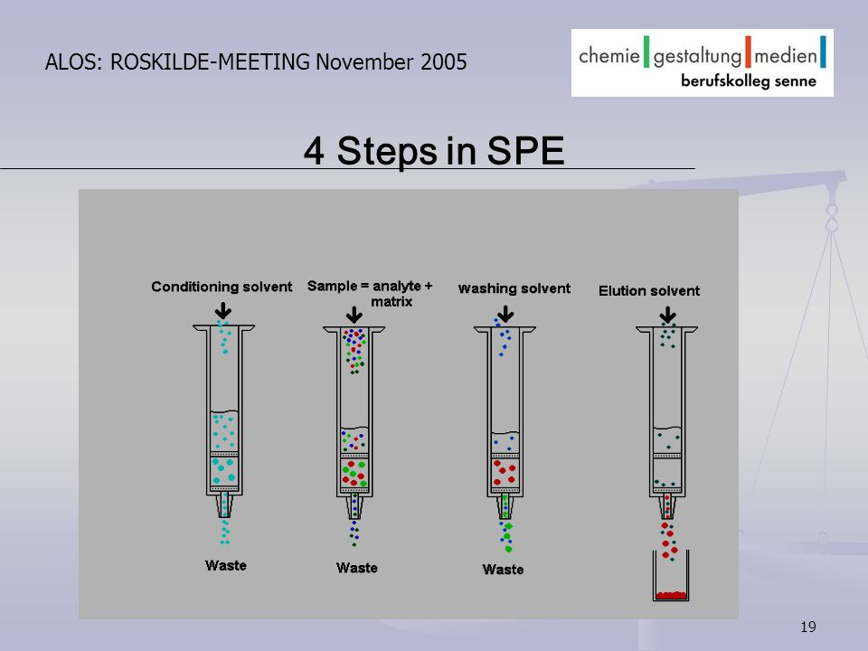 19 ALOS: ROSKILDE-MEETING November 2005 4 Steps in SPE