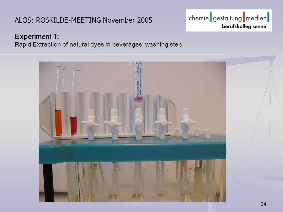 24 ALOS: ROSKILDE-MEETING November 2005 Experiment 1: Rapid Extraction of natural dyes in beverages: washing step