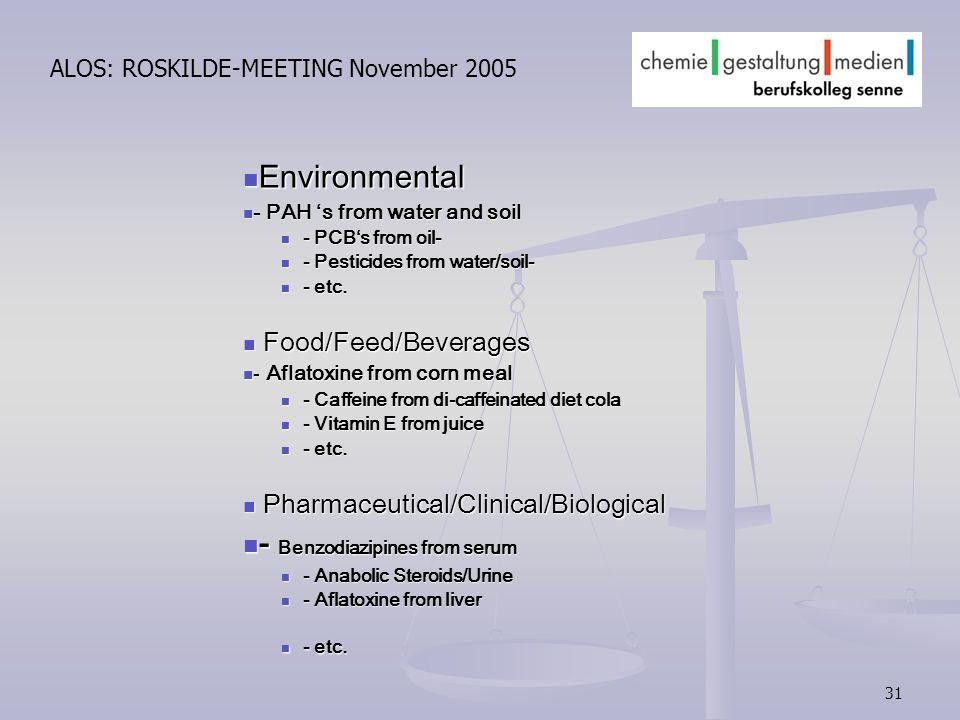 31 ALOS: ROSKILDE-MEETING November 2005 Environmental Environmental - PAH s from water and soil - PAH s from water and soil - PCBs from oil- - PCBs fr