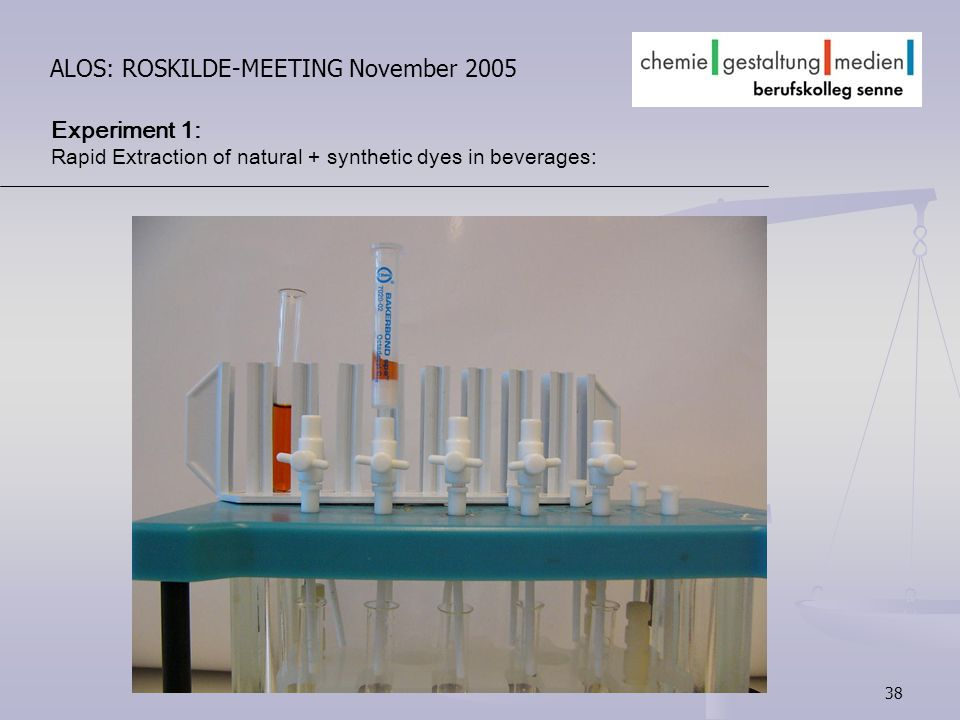 38 ALOS: ROSKILDE-MEETING November 2005 Experiment 1: Rapid Extraction of natural + synthetic dyes in beverages: