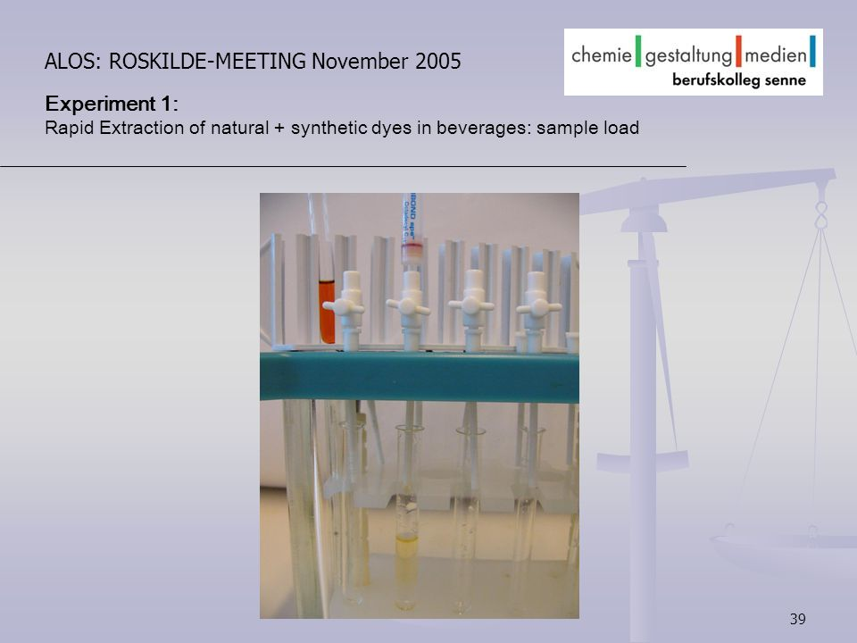 39 ALOS: ROSKILDE-MEETING November 2005 Experiment 1: Rapid Extraction of natural + synthetic dyes in beverages: sample load