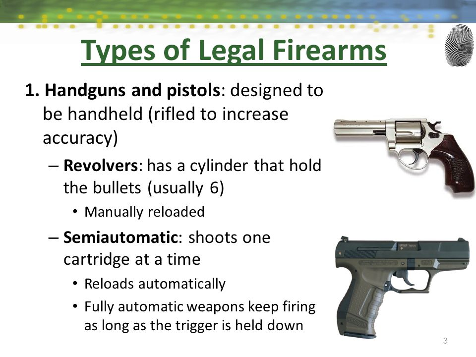 Types of Legal Firearms 1. Handguns and pistols: designed to be handheld (rifled to increase accuracy) – Revolvers: has a cylinder that hold the bulle