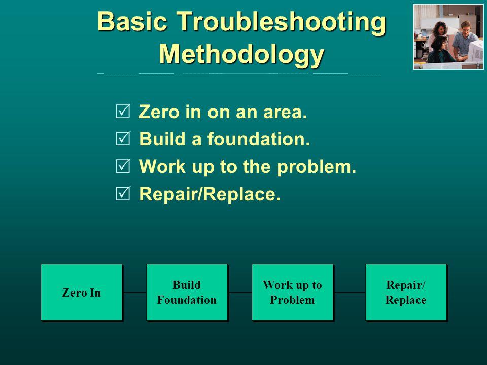 Basic Troubleshooting Methodology Zero in on an area.