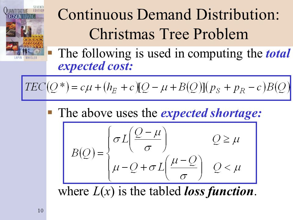 10 Continuous Demand Distribution: Christmas Tree Problem The following is used in computing the total expected cost: The above uses the expected shortage: where L(x) is the tabled loss function.