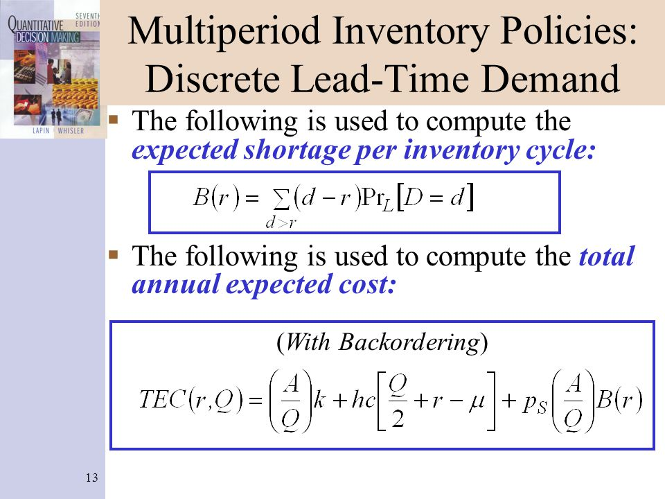 13 Multiperiod Inventory Policies: Discrete Lead-Time Demand The following is used to compute the expected shortage per inventory cycle: The following is used to compute the total annual expected cost: (With Backordering)