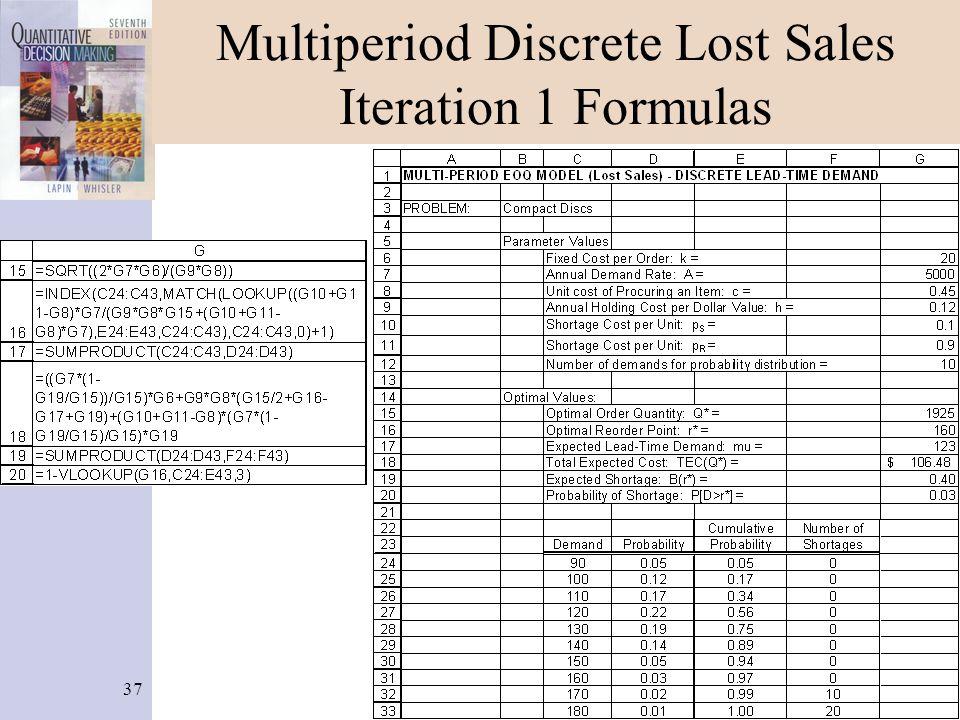 37 Multiperiod Discrete Lost Sales Iteration 1 Formulas