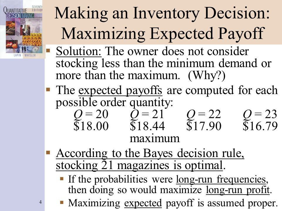 4 Making an Inventory Decision: Maximizing Expected Payoff Solution: The owner does not consider stocking less than the minimum demand or more than the maximum.