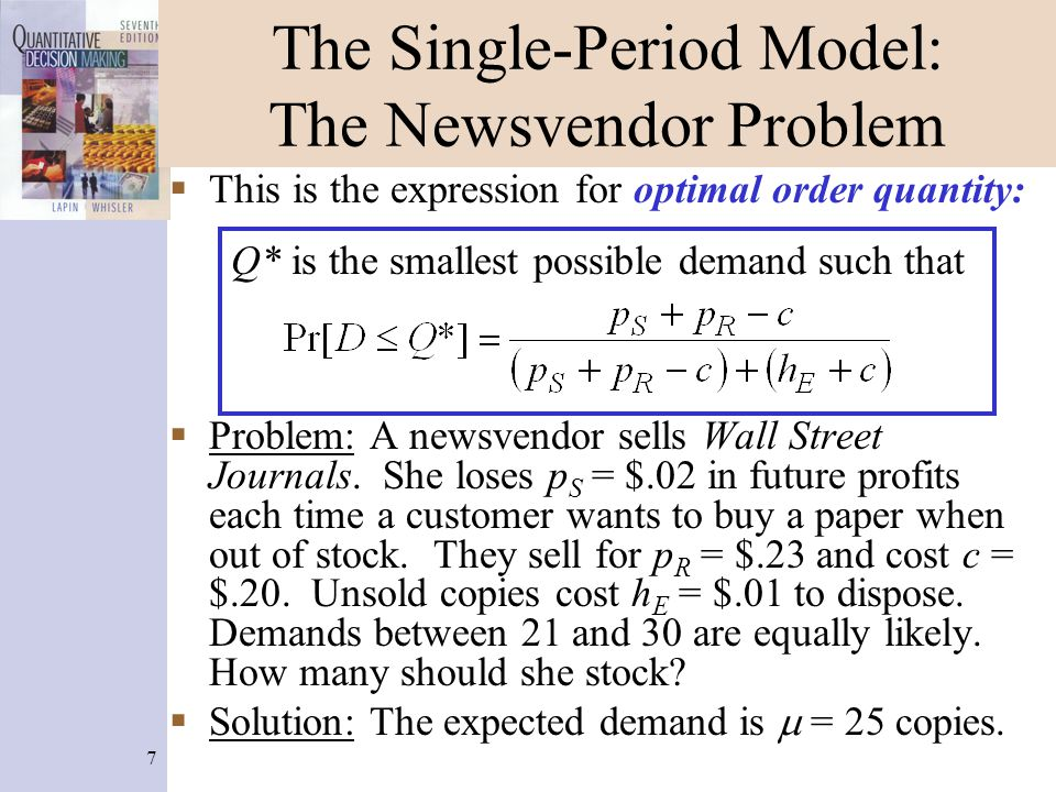 38 Multiperiod Discrete Lost Sales Iteration 10 Formulas Only one formula changes on the iteration 2 - 10 worksheets, in cell G15.