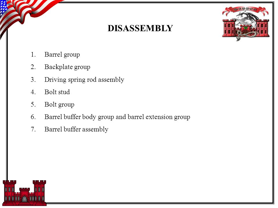 DISASSEMBLY 1.Barrel group 2.Backplate group 3.Driving spring rod assembly 4.Bolt stud 5.Bolt group 6.Barrel buffer body group and barrel extension group 7.Barrel buffer assembly