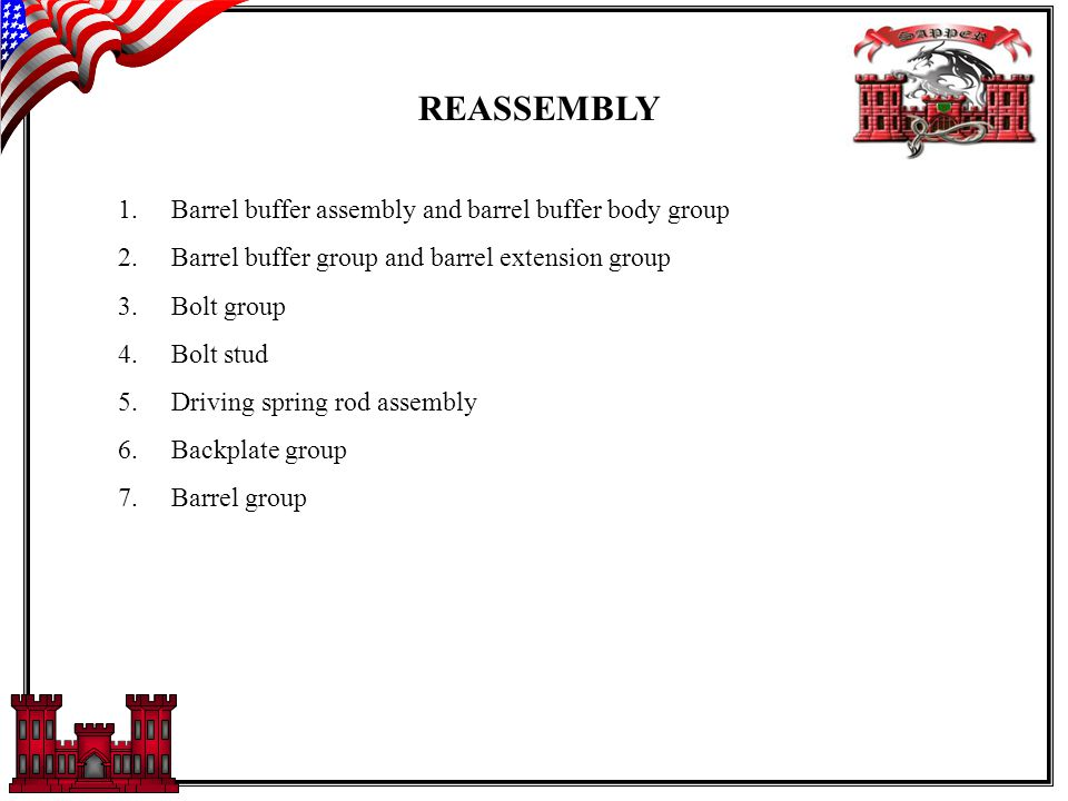 REASSEMBLY 1.Barrel buffer assembly and barrel buffer body group 2.Barrel buffer group and barrel extension group 3.Bolt group 4.Bolt stud 5.Driving spring rod assembly 6.Backplate group 7.Barrel group