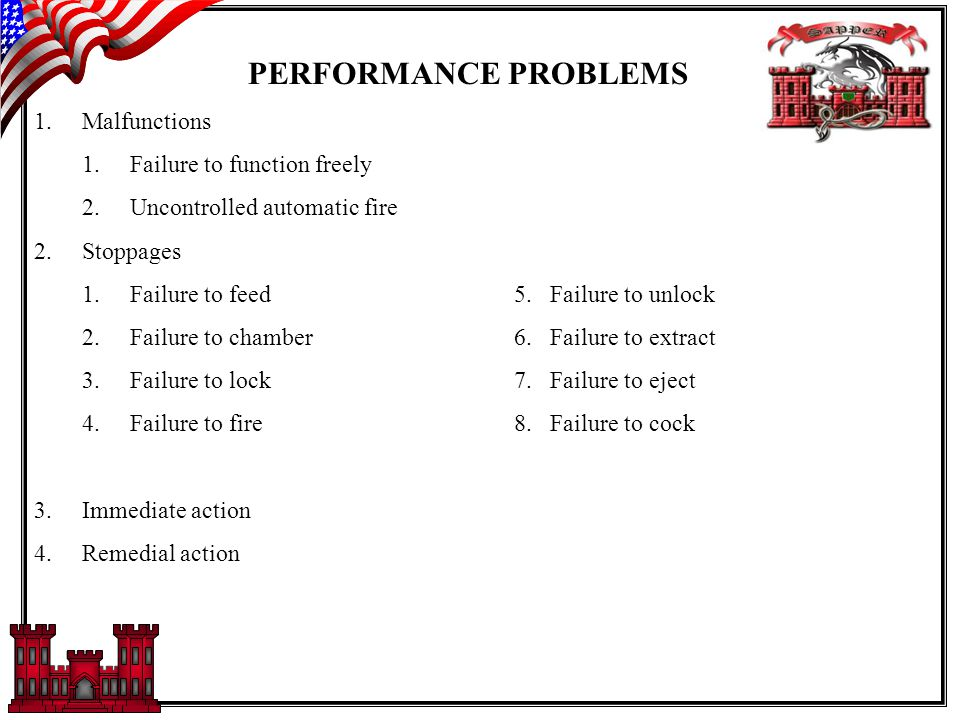PERFORMANCE PROBLEMS 1.Malfunctions 1.Failure to function freely 2.Uncontrolled automatic fire 2.Stoppages 1.Failure to feed 5.