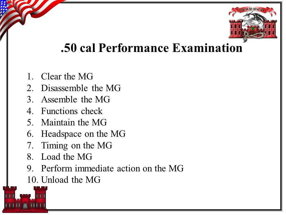 .50 cal Performance Examination 1.Clear the MG 2.Disassemble the MG 3.Assemble the MG 4.Functions check 5.Maintain the MG 6.Headspace on the MG 7.Timing on the MG 8.Load the MG 9.Perform immediate action on the MG 10.Unload the MG