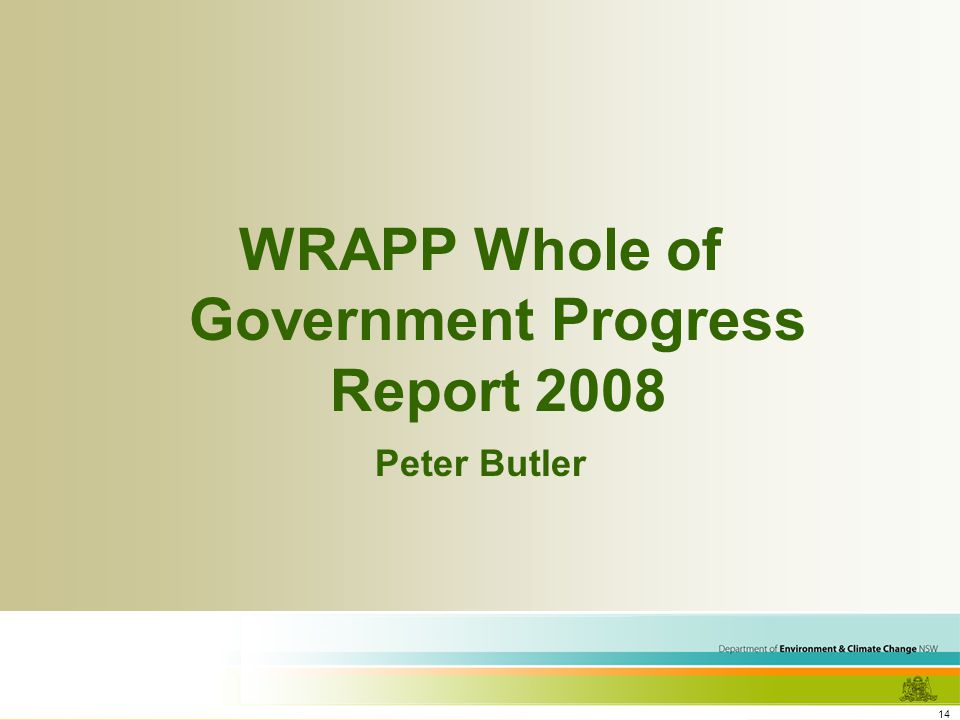 14 WRAPP Whole of Government Progress Report 2008 Peter Butler