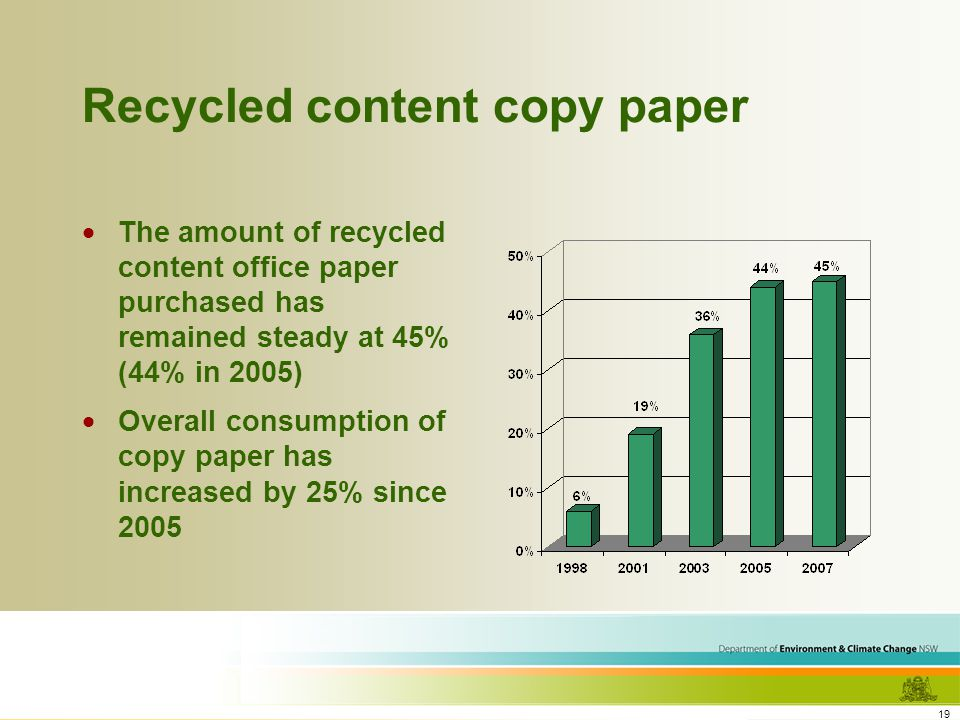 19 Recycled content copy paper The amount of recycled content office paper purchased has remained steady at 45% (44% in 2005) Overall consumption of copy paper has increased by 25% since 2005