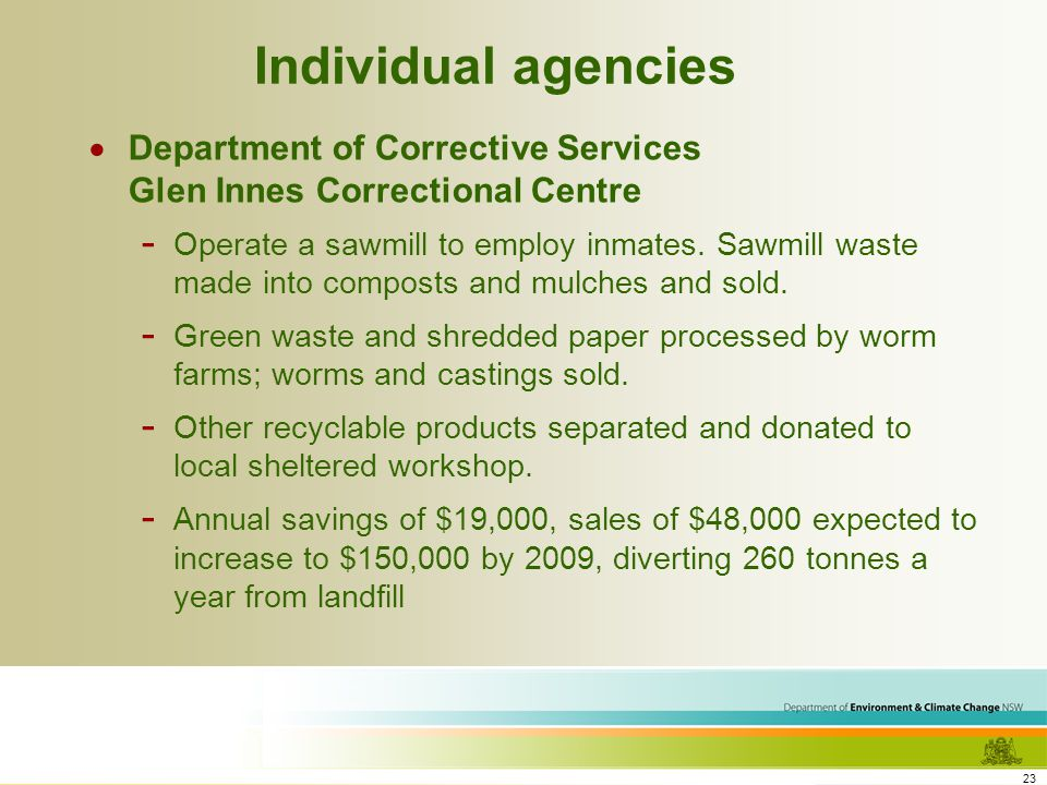 23 Individual agencies Department of Corrective Services Glen Innes Correctional Centre - Operate a sawmill to employ inmates.