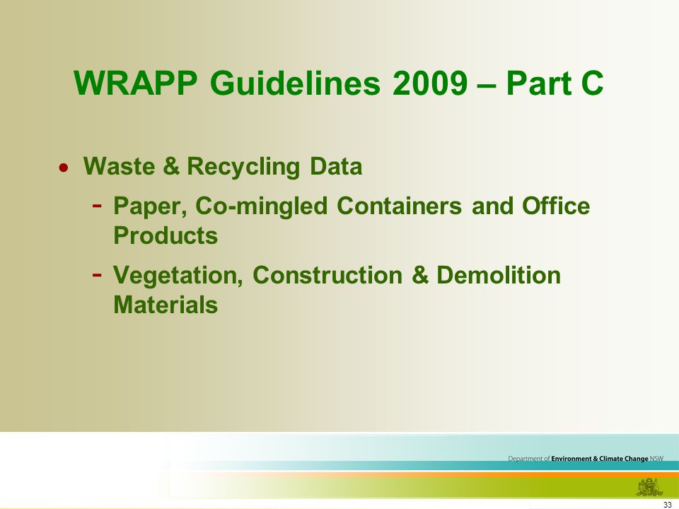 33 WRAPP Guidelines 2009 – Part C Waste & Recycling Data - Paper, Co-mingled Containers and Office Products - Vegetation, Construction & Demolition Materials