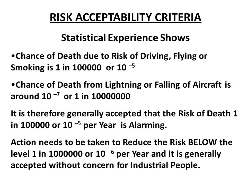 RISK ACCEPTABILITY CRITERIA Statistical Experience Shows Chance of Death due to Risk of Driving, Flying or Smoking is 1 in 100000 or 10 –5 Chance of Death from Lightning or Falling of Aircraft is around 10 –7 or 1 in 10000000 It is therefore generally accepted that the Risk of Death 1 in 100000 or 10 –5 per Year is Alarming.