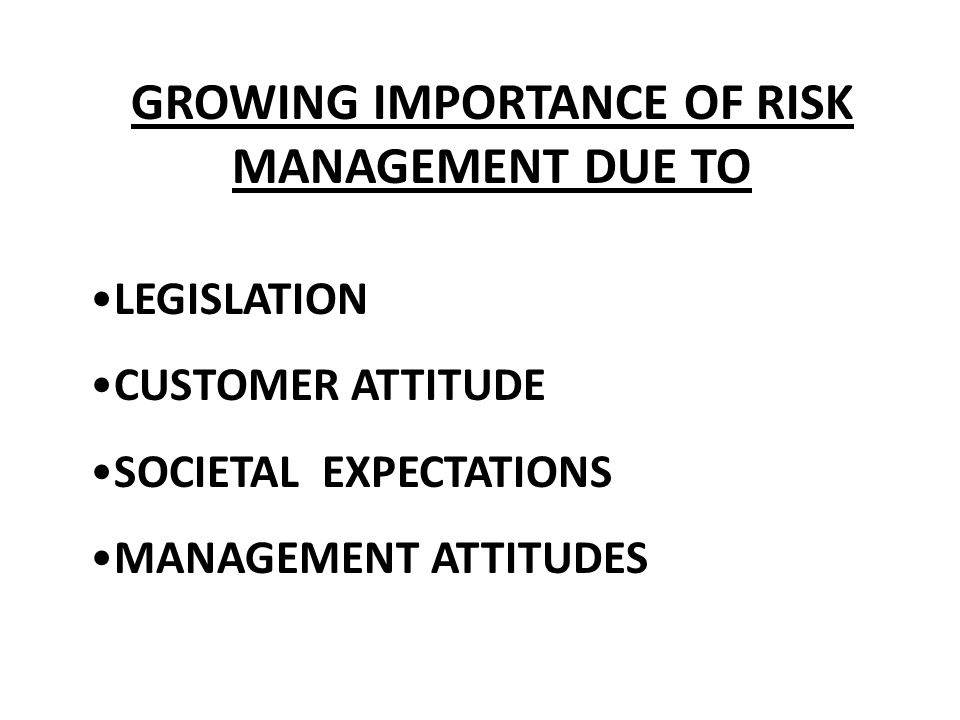 GROWING IMPORTANCE OF RISK MANAGEMENT DUE TO LEGISLATION CUSTOMER ATTITUDE SOCIETAL EXPECTATIONS MANAGEMENT ATTITUDES