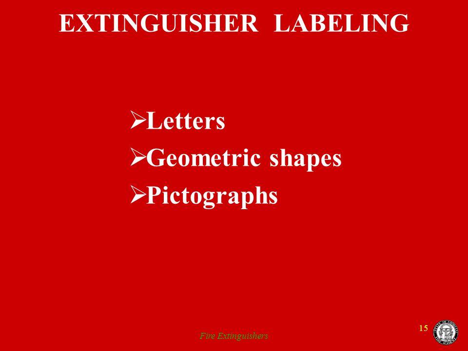 Fire Extinguishers 15 EXTINGUISHER LABELING Letters Geometric shapes Pictographs