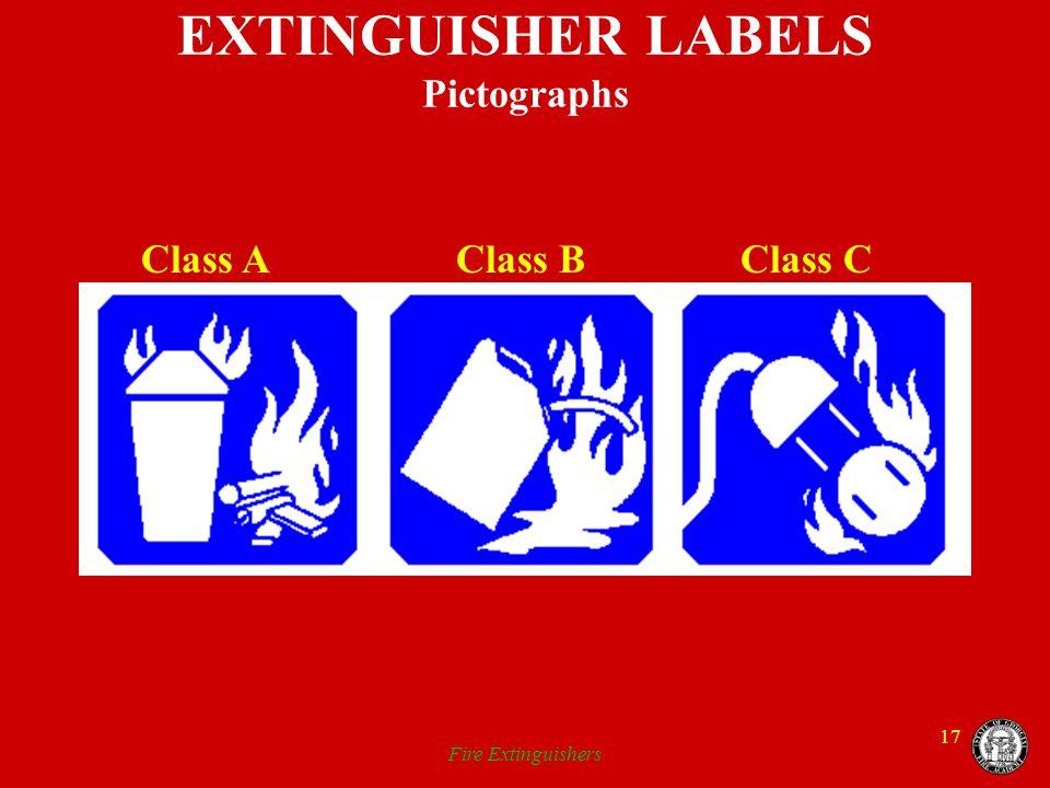 Fire Extinguishers 17 EXTINGUISHER LABELS Pictographs Class A Class B Class C