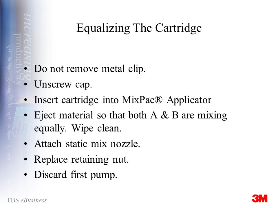 Equalizing The Cartridge Do not remove metal clip.