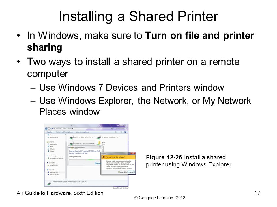 © Cengage Learning 2013 Installing a Shared Printer In Windows, make sure to Turn on file and printer sharing Two ways to install a shared printer on