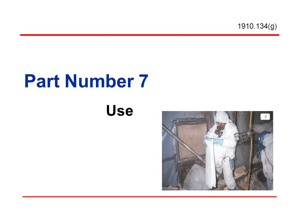 Part Number 7 Use (g)