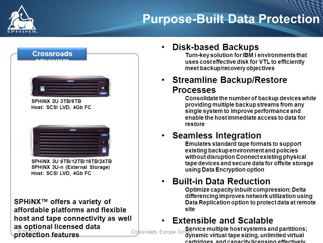 9/20/2011Crossroads Europe GmbH Purpose-Built Data Protection Disk-based Backups Turn-key solution for IBM i environments that uses cost effective disk for VTL to efficiently meet backup/recovery objectives Streamline Backup/Restore Processes Consolidate the number of backup devices while providing multiple backup streams from any single system to improve performance and enable the host immediate access to data for restore Seamless Integration Emulates standard tape formats to support existing backup environment and policies without disruption Connect existing physical tape devices and secure data for offsite storage using Data Encryption option Built-in Data Reduction Optimize capacity inbuilt compression; Delta differencing improves network utilization using Data Replication option to protect data at remote site Extensible and Scalable Service multiple host systems and partitions; dynamic virtual tape sizing, unlimited virtual cartridges, and capacity licensing effectively addresses business growth SPHiNX offers a variety of affordable platforms and flexible host and tape connectivity as well as optional licensed data protection features Crossroads SPHiNX SPHiNX 2U 3TB/6TB Host: SCSI LVD, 4Gb FC SPHiNX 3U 6TB/12TB/18TB/24TB SPHiNX 3U-n (External Storage) Host: SCSI LVD, 4Gb FC