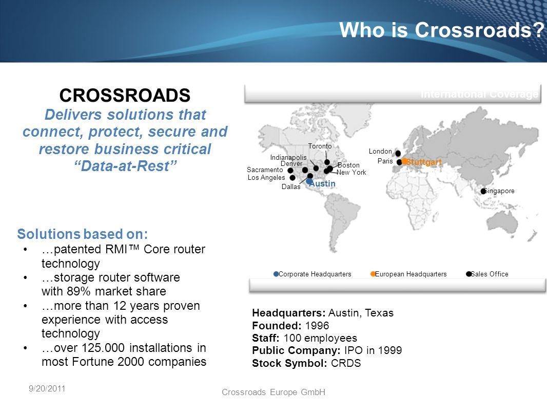 9/20/2011 Crossroads Europe GmbH Who is Crossroads.