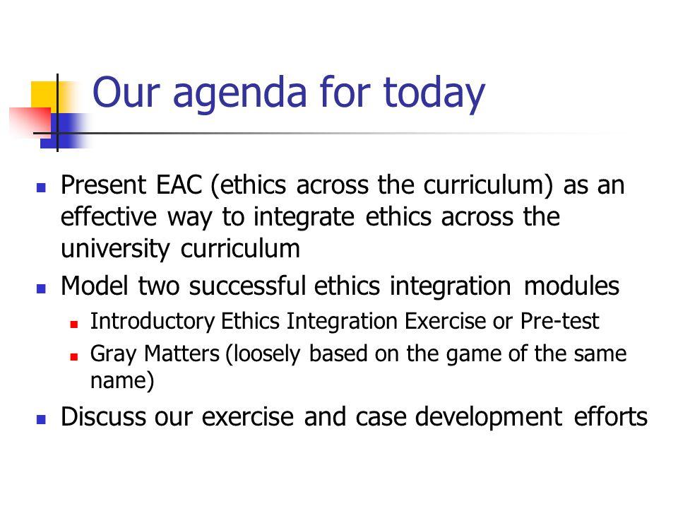Ethics Across the Curriculum Dr José A. Cruz Dr. William J.