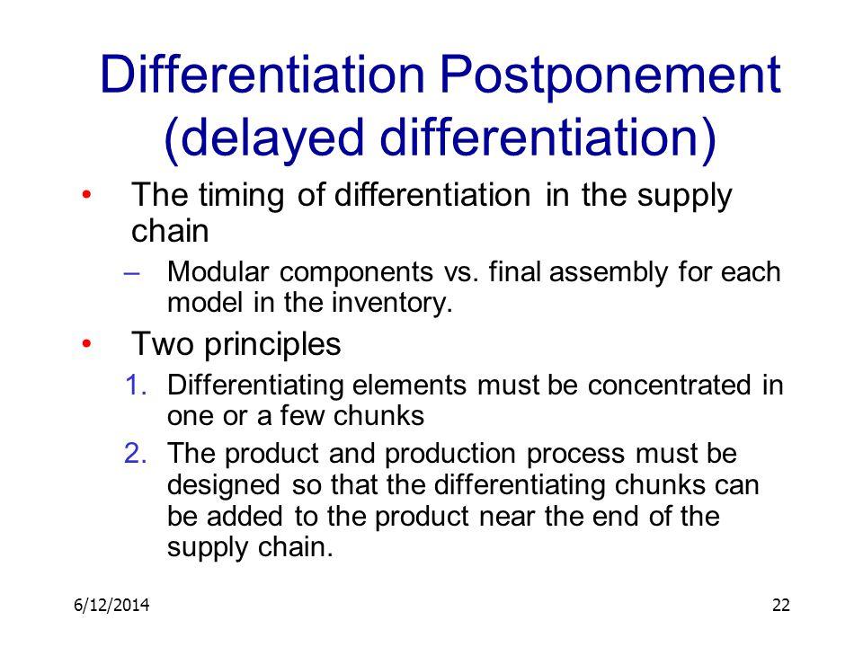 6/12/201422 Differentiation Postponement (delayed differentiation) The timing of differentiation in the supply chain –Modular components vs. final ass