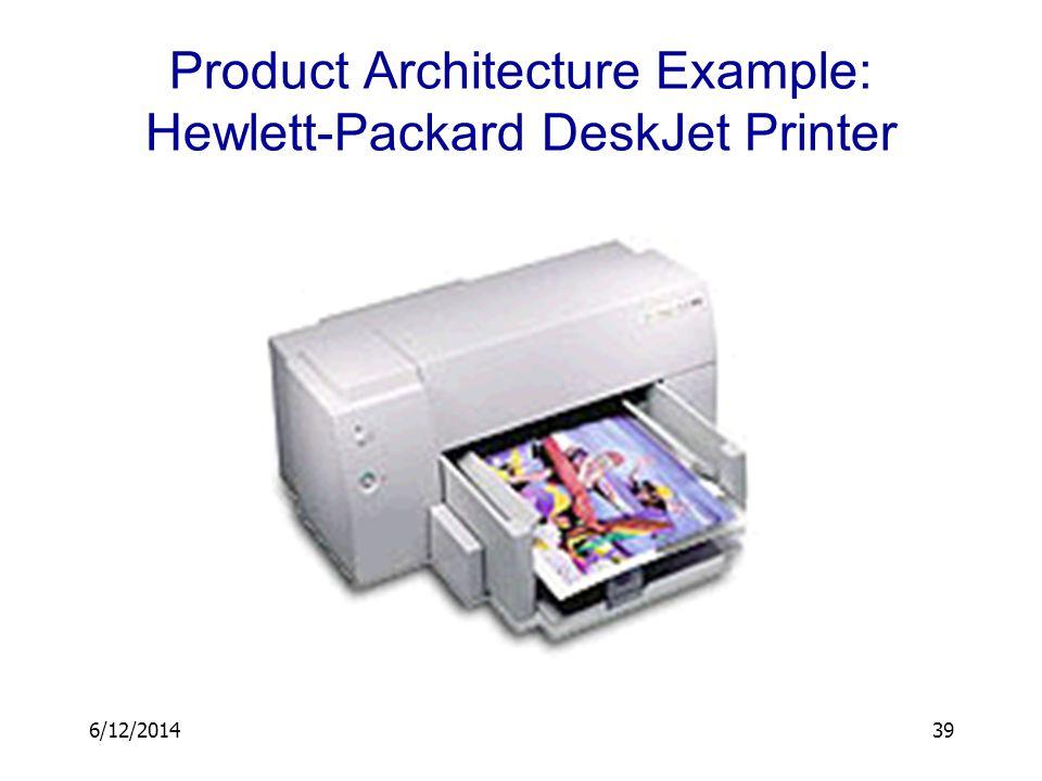 6/12/201439 Product Architecture Example: Hewlett-Packard DeskJet Printer