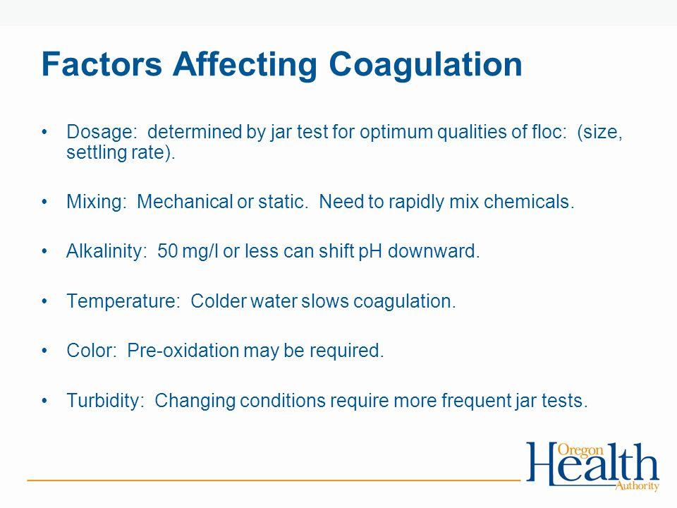 Factors Affecting Coagulation Dosage: determined by jar test for optimum qualities of floc: (size, settling rate).