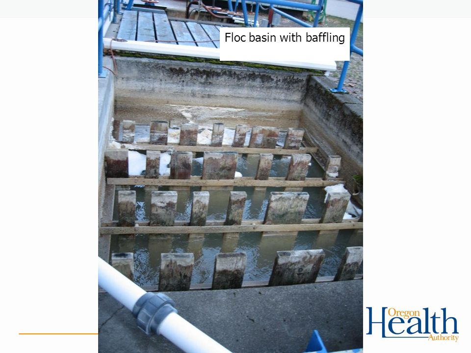 Floc basin with baffling