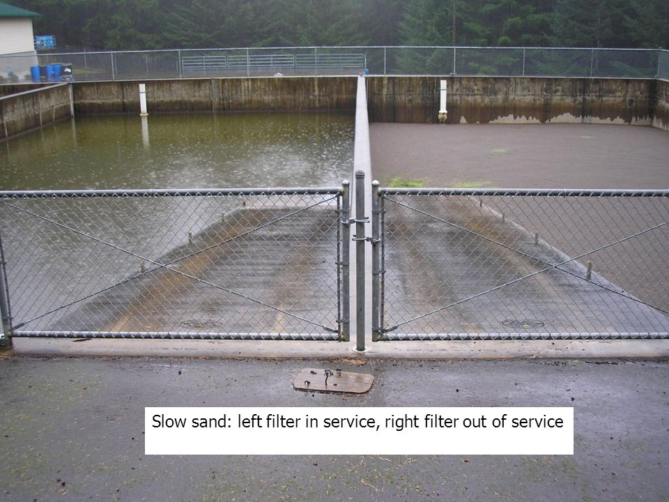 Slow sand: left filter in service, right filter out of service