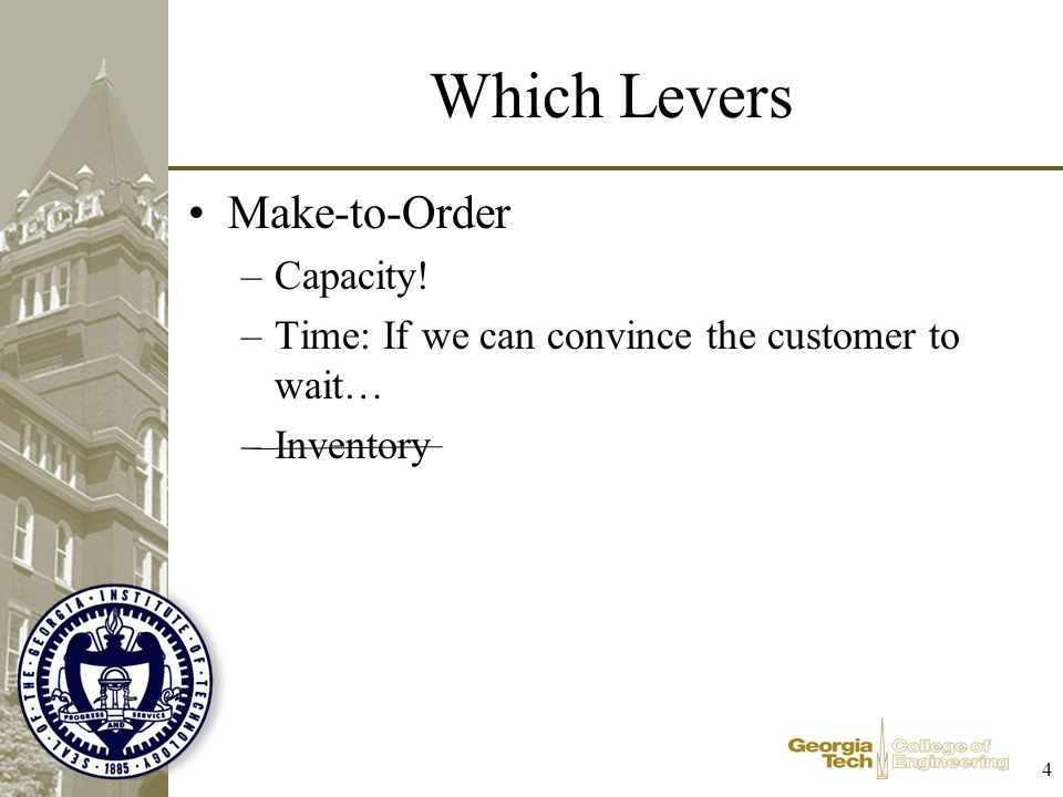 5 Pros-Cons MTO: –Pros: Little or no finished goods inventory Customization can be competitive advantage –Cons: Manufacturing subject to high demand variability Lead-time can be competitive disadvantage MTF –Pros: Helps smooth capacity requirements Can respond to (foreseen) changes in demand Product availability –Cons Only as good as the forecast No real limit on inventory MTS –Pros: Minor smoothing of capacity requirements Product availability Definite capacity on inventory –Cons: Manufacturing still subject to demand variability Inventory