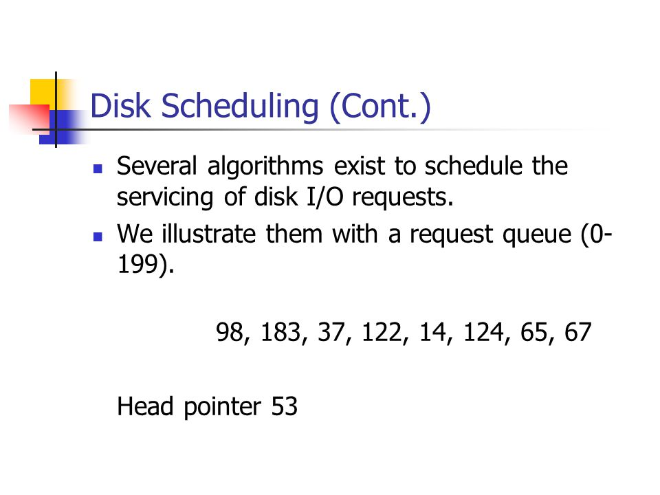 Disk Scheduling (Cont.) Several algorithms exist to schedule the servicing of disk I/O requests. We illustrate them with a request queue (0- 199). 98,