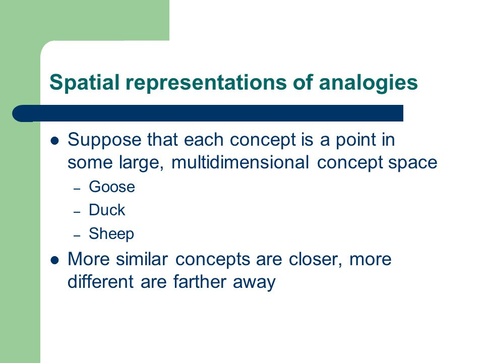 Spatial representations of analogies Suppose that each concept is a point in some large, multidimensional concept space – Goose – Duck – Sheep More similar concepts are closer, more different are farther away