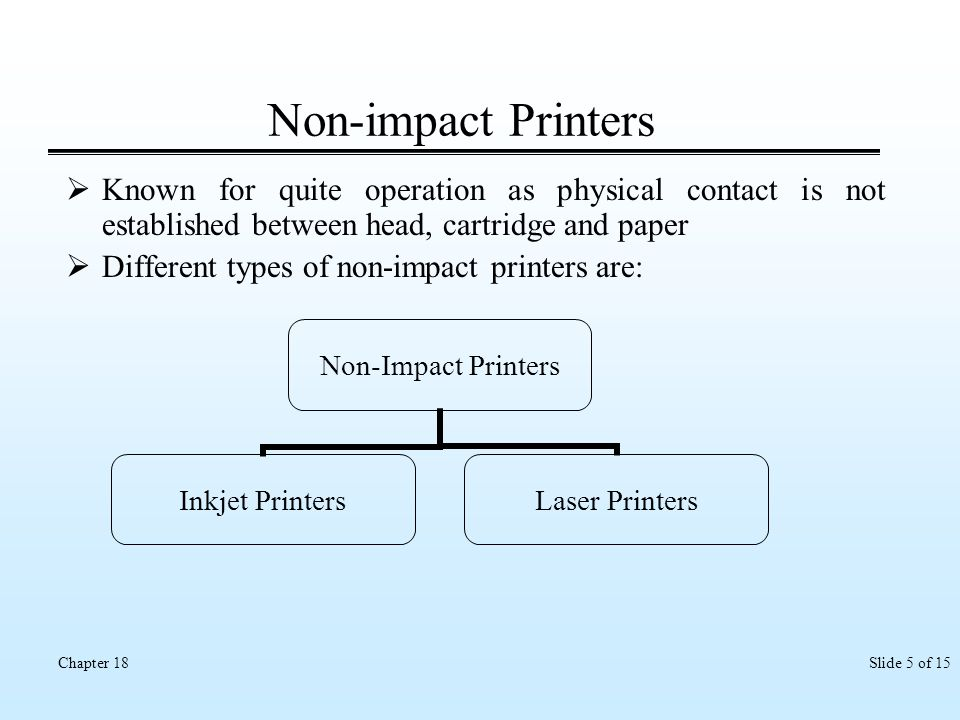 Slide 5 of 15Chapter 18 Non-impact Printers Known for quite operation as physical contact is not established between head, cartridge and paper Differe