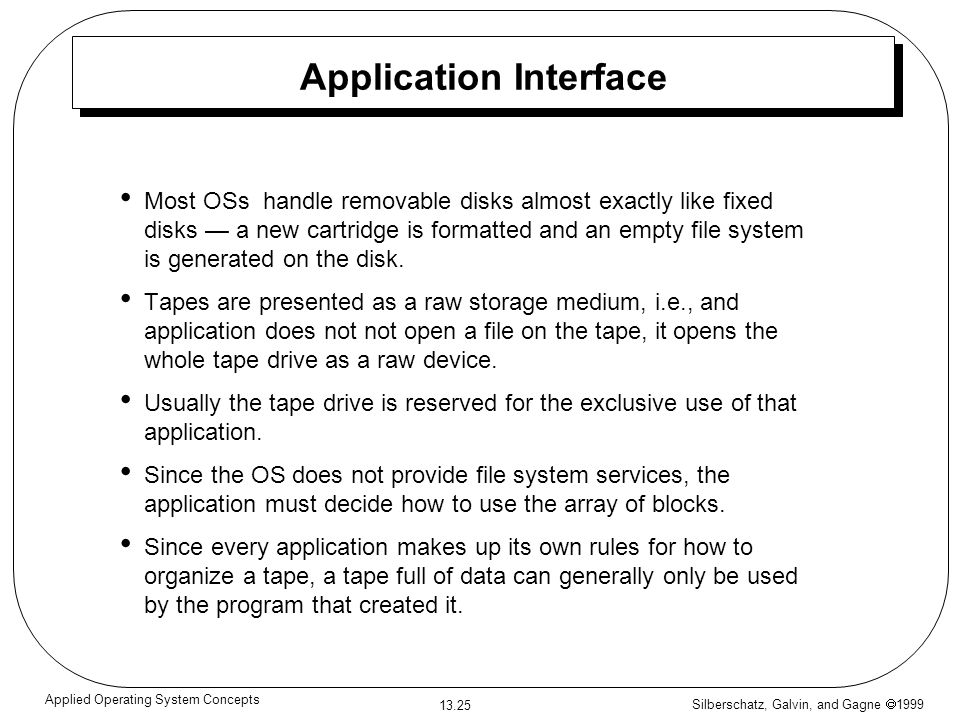 Silberschatz, Galvin, and Gagne 1999 13.25 Applied Operating System Concepts Application Interface Most OSs handle removable disks almost exactly like