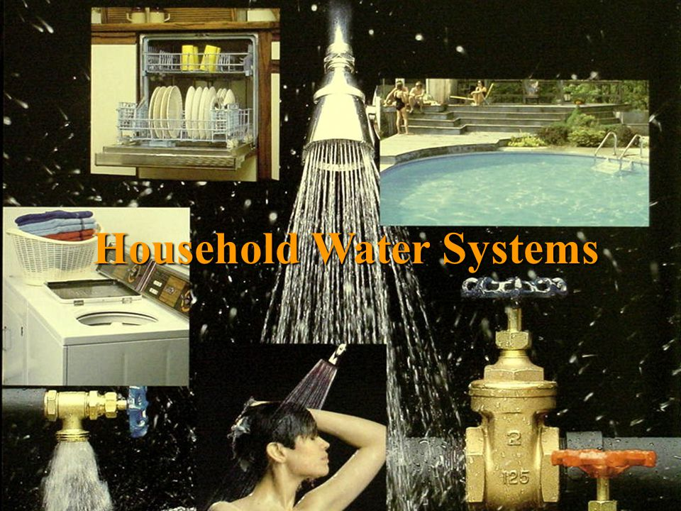 Household Water System Components Water Source (well, spring, pond, or cistern)Water Source (well, spring, pond, or cistern) PumpPump Pressure TankPressure Tank Pressure SwitchPressure Switch Check ValveCheck Valve PipingPiping Optional Treatment EquipmentOptional Treatment Equipment (Softener, Filter, Disinfection Unit, etc)