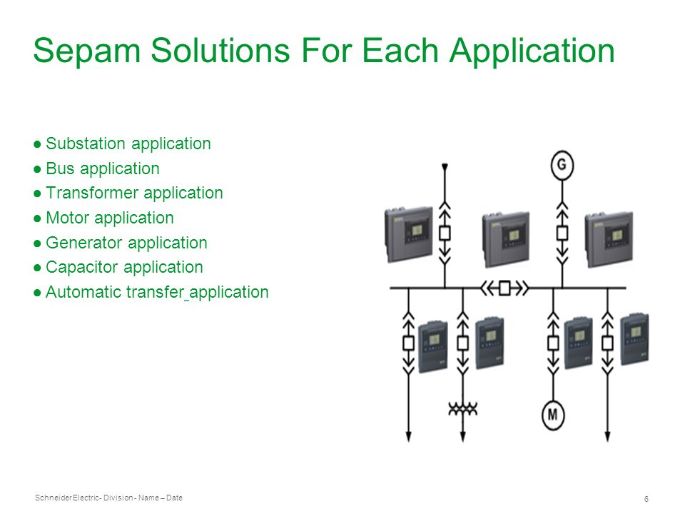 Schneider Electric 6 - Division - Name – Date Sepam Solutions For Each Application Substation application Bus application Transformer application Motor application Generator application Capacitor application Automatic transfer application