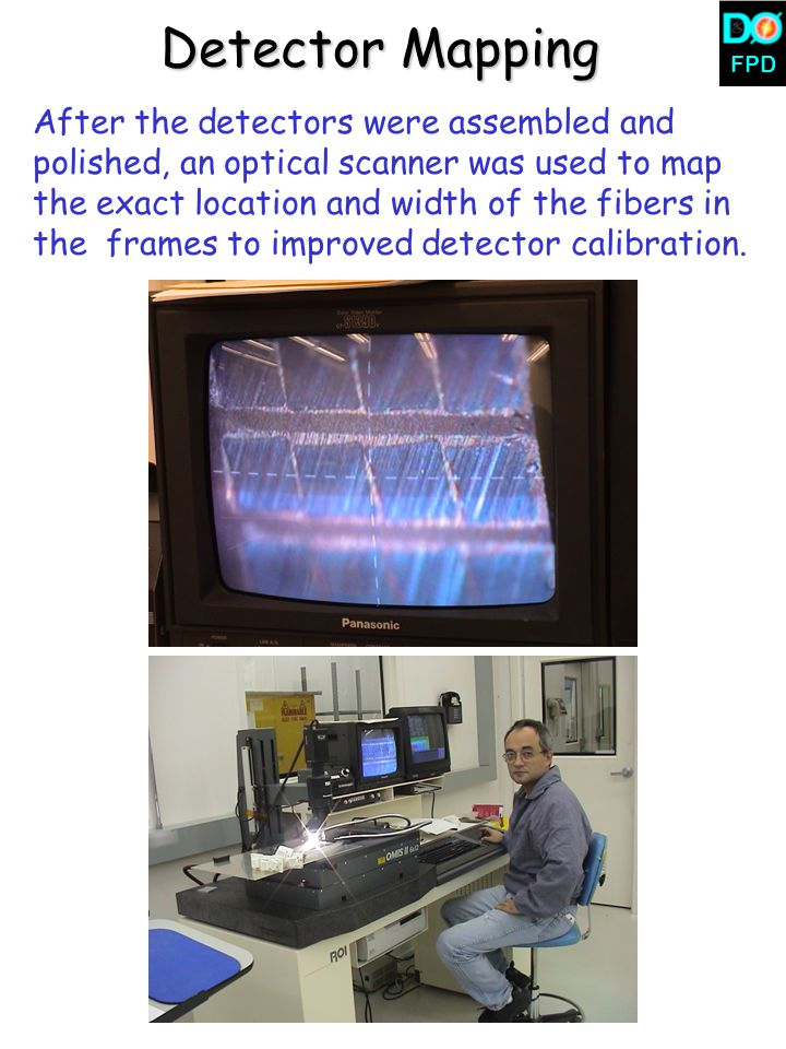 FPD Detector Mapping After the detectors were assembled and polished, an optical scanner was used to map the exact location and width of the fibers in the frames to improved detector calibration.